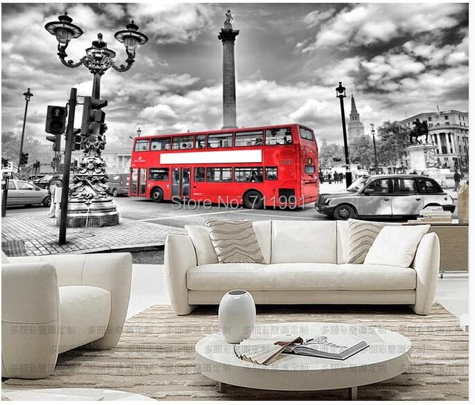 Custom vintage wall wallpaper London bus for a living room TV backdrop KTV bar waterproof vinyl wallpaper 3D wallpaper<br>