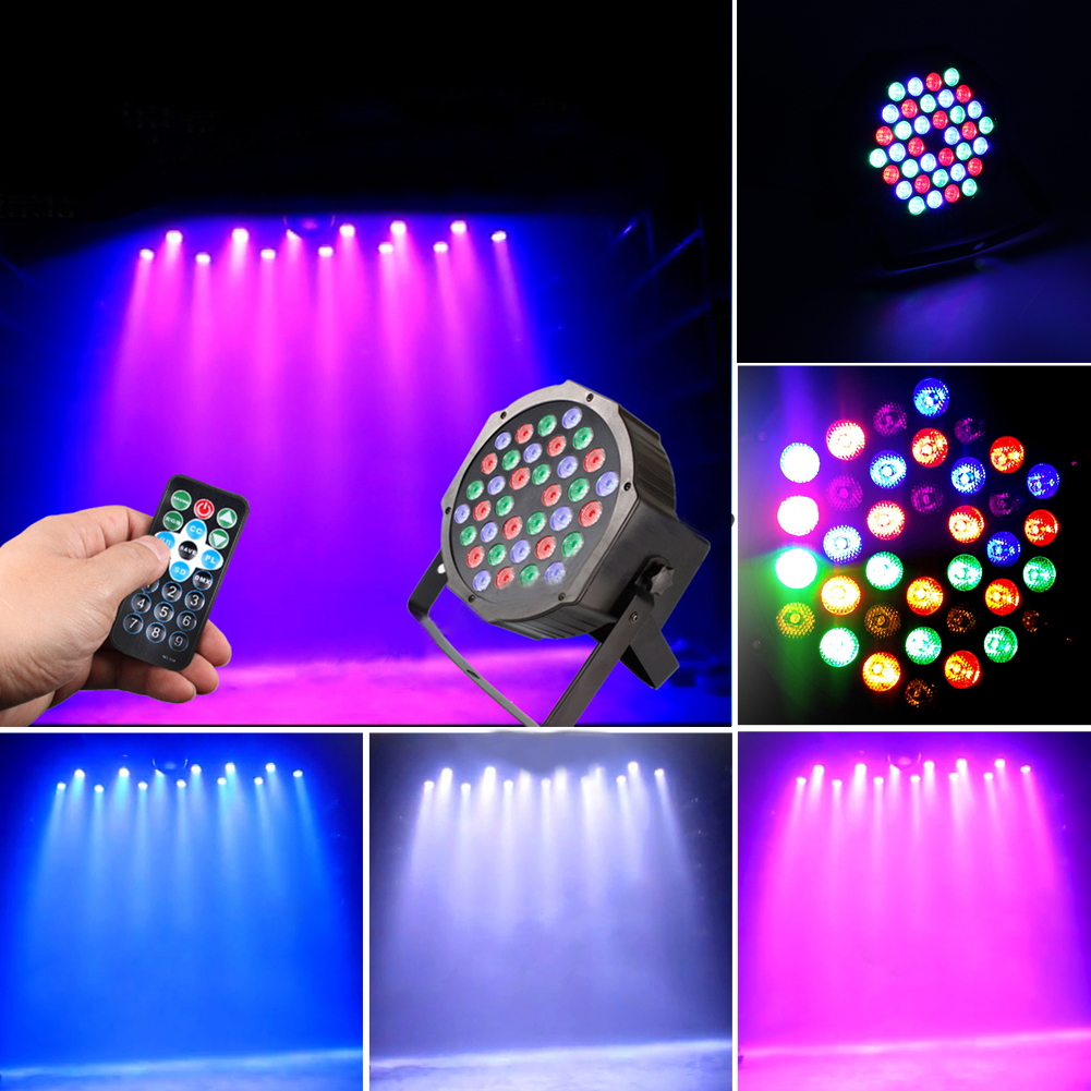 IR Remote Control 36W 36 LED Stage Light RGB Par Light DMX512 LED Flat DJ Equipment Controller Discos KTV Music Light US/UK Plug<br>