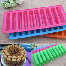 1PCS Silicone Bakeware Mold Chocolate Molds 10 Holes Long Finger Cake Molds Thumb Cookies Moulds