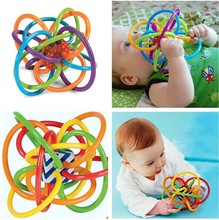 Ball Safety Baby Teether 12cm*10cm/set BPA Free Colorful Kids Teething Massager Infant Training Tooth Sound Cute Bijtring Toy(China)