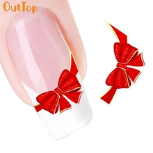 OutTop Love Beauty Female 1pc HOT Cute Red Bows Nail Art Tip Art Water Transfers Decal Manicure Stickers 160715 Drop Shipping(China)