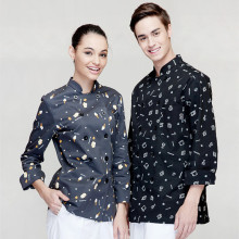 (5 get 10% off, 10 get apron for free)Man/woman long sleeve chef wear uniform waiter shirt uniform work wear work clothes