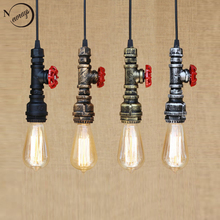 Loft industrial Iron water Pipe steam punk Vintage pendant lamp cord E27 led pendant lights for bedroom bar restaurant kitchen(China)