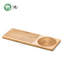 Flat Bamboo Tea Table Serving Tray with Rattan Weaving Cushion 40*15cm