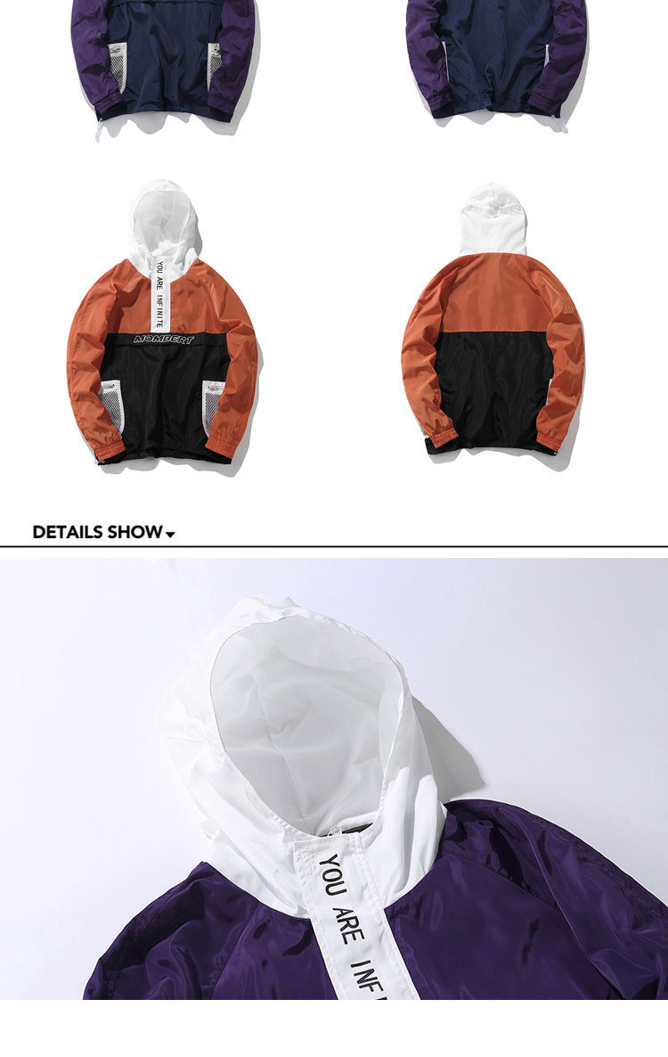 Aolamegs Jackets Men Patchwork Hit Color Couple Thin Pullover Jacket High Street Tracksuit Fashion Coats Male Streetwear Autumn (9)