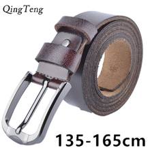 135cm -160cm long men's genuine leather big size belt classic casual designer pin button plus size belts male fat people strap