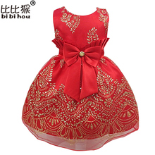 Girls Dress kids red bownot Elegant Pageant Party Dress Girls clothes christmas costumes for children Toddler girls Infant