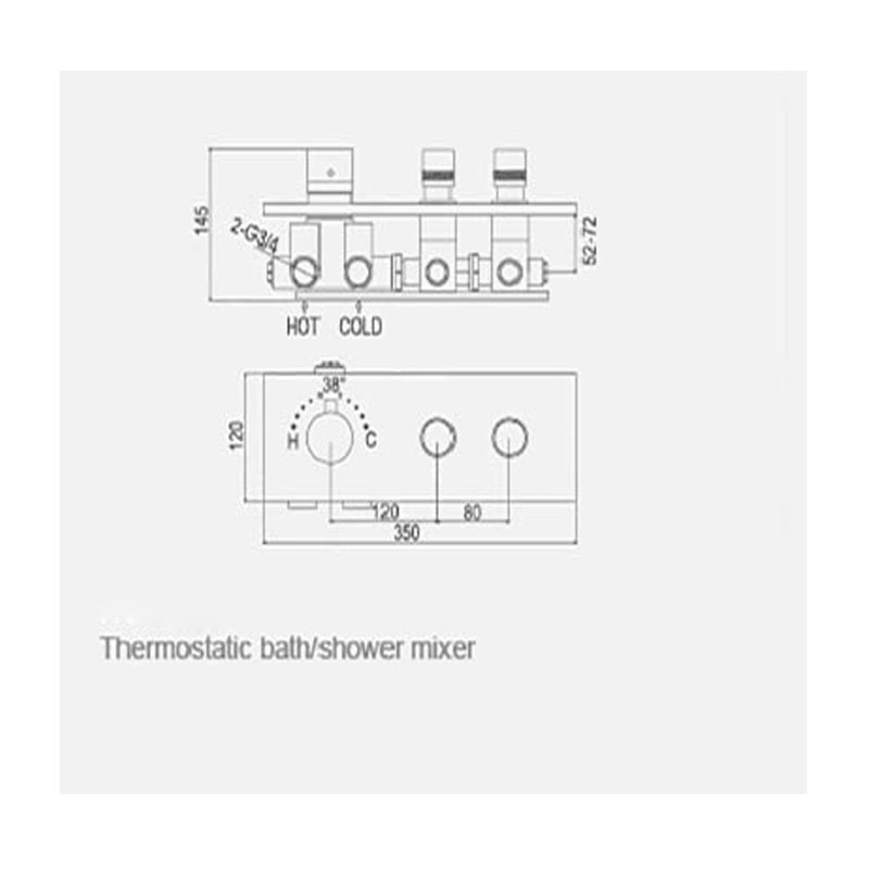 JMKWS 2 Functional Thermostatic Bath Shower Mixer Brass Chrome Controller Water Mixer Valve High Flow Bathroom Shower Switch 2