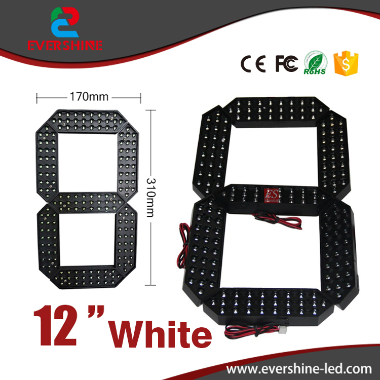 12 inch segment number gas station Outdoor Ultra Brightness white Large digital led module display<br>