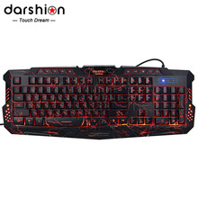 Darshin M300 Russian Backlit Keyboard LED Switch 3-Color USB Wired Colorful Breathing Waterproof computer Crack Gaming Keyboard(China)