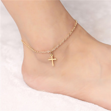 Simple and cheap fashion silver plated anklets for women metal cross pendant charm leg chain & foot jewelry