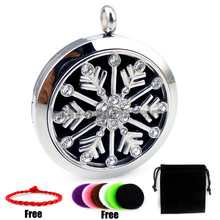 Round Silver Snow Casing 30mm with Crystals 316L Stainless Steel Essential Oils  Aromatherapy Diffuser Locket Necklace