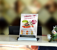 A4 Aluminium alloy acrylic restaurant table Desktop label holder poster banner list menu holder stand(China)