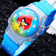 2017 Hot Sale 1PC Cute Boy's Lovely Waterball LED Watches With Flashing Light Children Bird Cartoon Character Kids Digital Watch