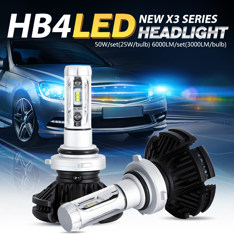 Oslamp CREE Chips HB4 9006 Car Headlight Bulbs Vehicle Driving Head Lamps 50W/Pair SUV All-in-one Fog Lamps Fan-less 3000K 6500K<br><br>Aliexpress