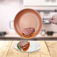 Non-stick Copper Frying Pan Ceramic Induction Skillet Copper Red Pan Saucepan Oven & Dishwasher Safe 12 Inches Nonstick Skillet