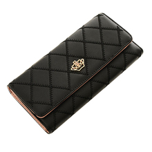 Hot sale new fashion high capacity women wallets metal crown lady long clutch wallet female PU leather flip up card holder purse(China)