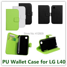 1PCS Drop Shipping Black Color PU Leather Folding Pouch Wallet Cover Case for LG L40 with Magnetic Fastener Cellphone Bags Free