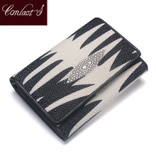 Genuine Leather Lady Wallet Pearl Fish Skin Women Leather Purse Middle Tri-fold Money Bag Credit Card Holder Purse Free Gift Box(China)