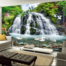 Custom Murals Wallpaper 3D Stereo Waterfalls Landscape Photo Wall Cloth Living Room Bedroom Home Decor Waterproof Wall Paper 3 D(China)