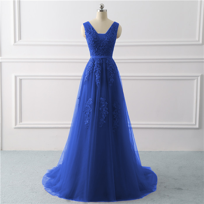 Royal blue Evening Dress plus size Long 2019 A Line Formal Party dresses appliques lace prom gown dress bridal Vestido De noiva(China)