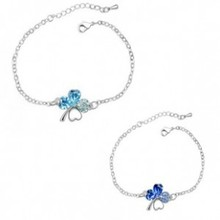 Wholesale factory Direct price Four Leaf Clover Bracelet Special Offer Bracelet 2014 Women Jewelry Silver Plated Chain