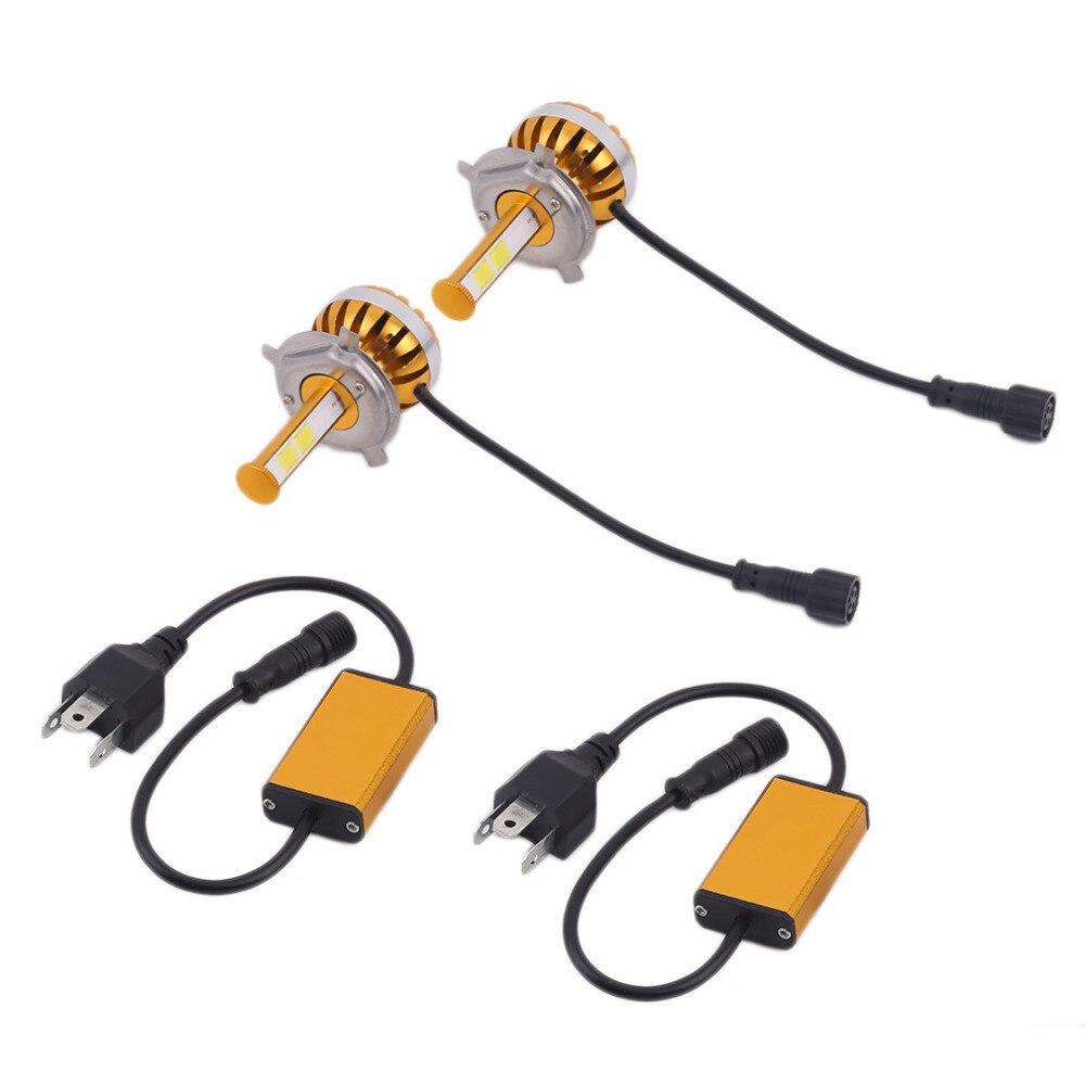 KONNWEI Newest 1Pair D6 H7 Car LED Headlamp Bulb Head lights Replace Xenon Headlights 4000LM DC9-36V 60W 6000K LED Chip White<br>