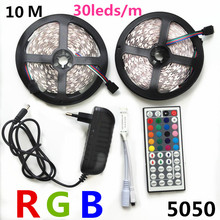 DC 12V 10M 5M RGB LED Strip 5050 5M/Roll Waterproof led light 10M+Remote Controller+DC 12V Power Supply EU UK US AU plug