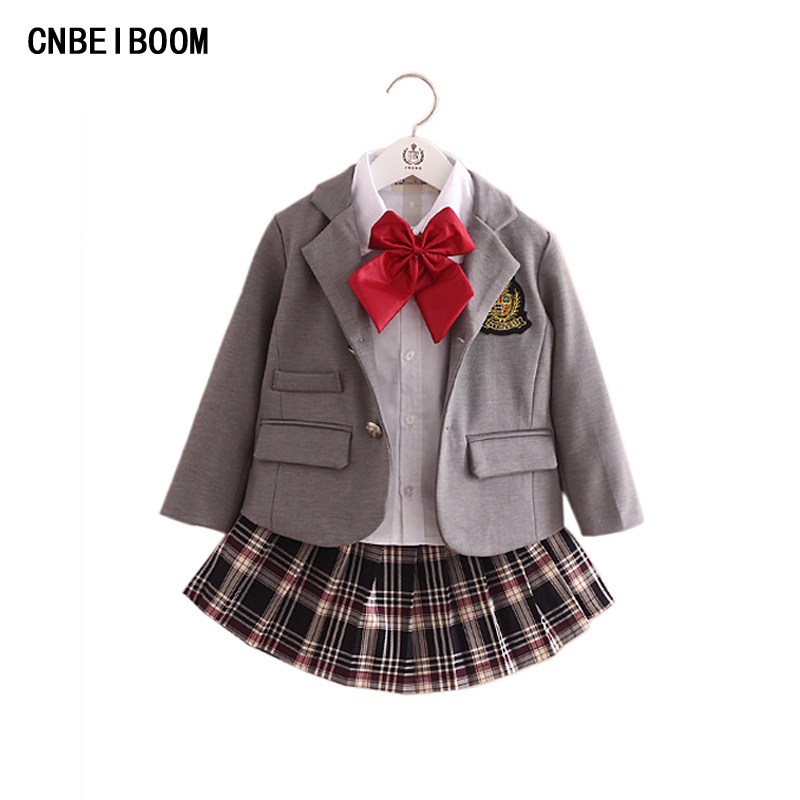 Children Girls School Uniform Kindergarten Students Dance Costume 2-8 yrs College Clothing Group Stage Performance Clothes Sets<br>
