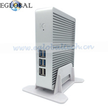 Fanless Mini PC ITX Computer Intel Core i3 4005U Haswell 4G RAM 128GB SSD Silver Aluminum Case HDMI HD 4k RJ45 Lan