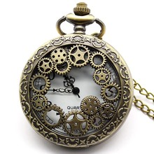 Retro Design Hollow Gear Fob Watch Vintage Bronze Pocket Watch Necklace Chain Pendant  ~M24