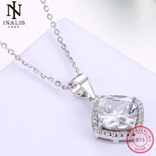 INALIS 925 Sterling Silver Necklace Square Crystal Pendant Necklace For Women Girl Female Jewelry Wedding Gift(China)