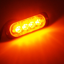 Super Thin 24V 12V 4 LED Vehicle Truck Car Side Tail Warning Light Waterproof Maker Strobe Flashing Lights Yellow Red Blue White