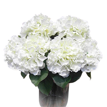 Best Selling Home Decoration Flowers Artificial Hydrangea Flower 5 Big Heads Bouquet Decor DIY Creamy(China)