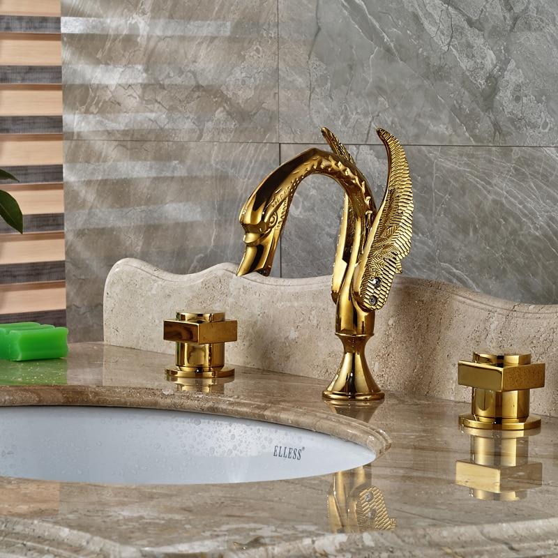 Luxury Golden Brass Bathroom Basin Faucet Deck Mount Widespread Swan Style Lavatory Sink Mixer Taps<br><br>Aliexpress