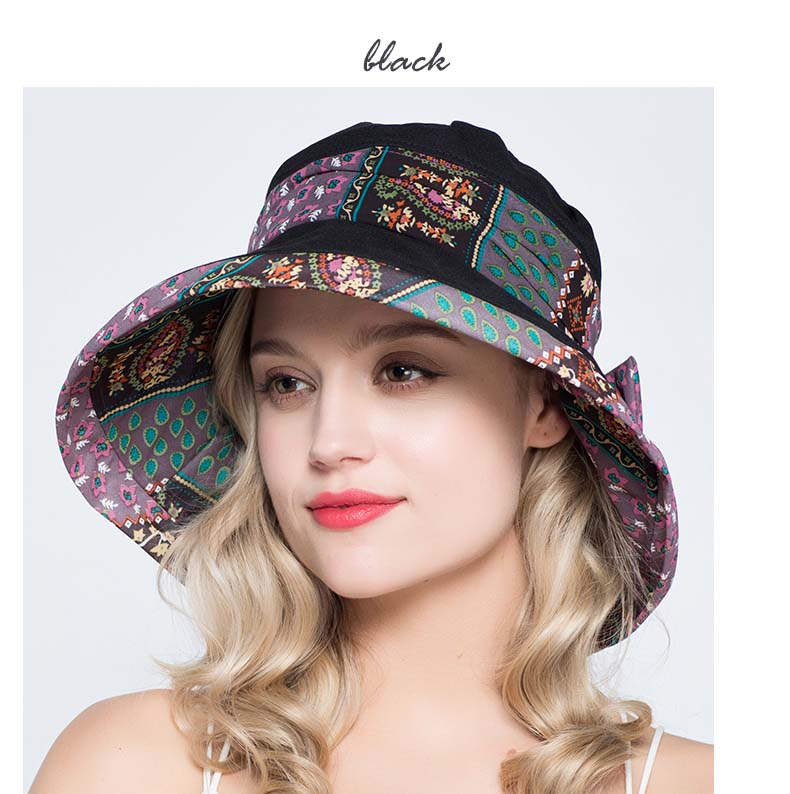 7ab86c2c27e FS Elegant Ladies Royal Blue Print Wide Brim Floppy Beach Hat Women ...
