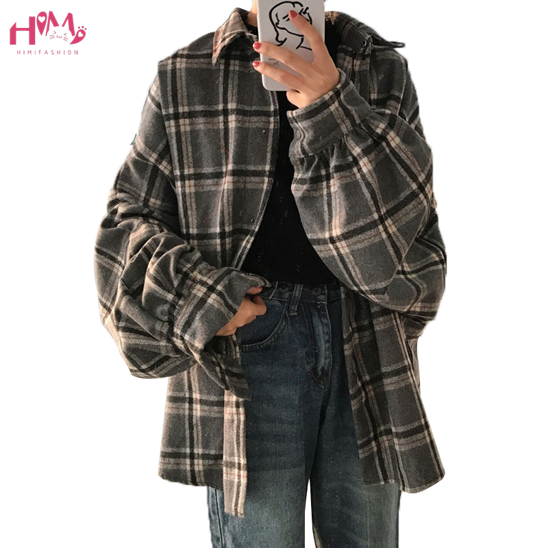 Vintage Harajuku Plaid Shirts Korean Fashion Oversized Shirts Autumn Winter Women Tops and Blouses Long Sleeve Boyfriend Shirts