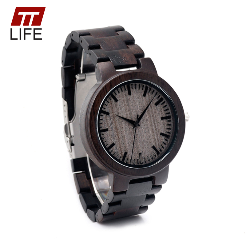 TTLIFE Men Full Black color Stylish Wood Watches Classic Wristwatches Bracelet Bamboo Band Quarzt Movement Wrist Watch WD224<br><br>Aliexpress