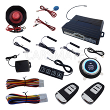 Smart PKE Car Alarm System Push Start Remote Start Stop Engine Password Keyboard W Shock Sensor & LED Light Remote Trunk Release(China)