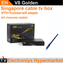 1PCS V8 Golden starhub Singapore blackbox tv receiver+USB WIFI all HD channels free 239+ channels better than qbox hd c608 c801