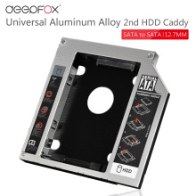 "New 12.7mm Aluminum Metal Material 2nd HDD Caddy SATA To SATA 2.5"" SSD HDD Case For Laptop ODD DVD/CD-ROM Optibay"