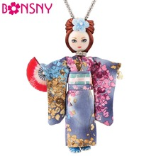 Bonsny Statement Japanese Doll Necklace Dress Handmade French Doll Pendant 2017 News Alloy Girl Women Flower Fashion Jewelry(China)