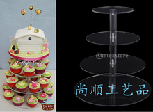 Birthday Cake stand Arrival Assemble and Disassemble Round Acrylic 4 Tier Cupcake Cake Stand For Wedding(China)