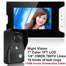 "DBPOWER 7 ""LCD Video Door Phone Video Intercom Doorbell Home Security IR Camera Monitor With Night Vision Videoportero+15M Cable(China)"