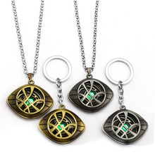 Unique Grow in Dark Doctor Strange keychain  Eye Shape  2 colors Pendant with Leather Cord Long key holder movieJewelry