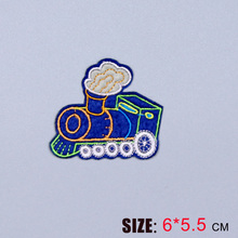 HOT sale 1PC fashion cute blue  locomotive On Embroidered Patch For Cloth Cartoon Badge Garment Appliques DIY Accessory