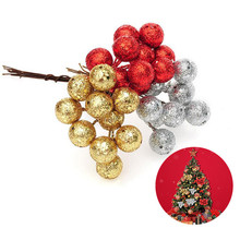 10Pcs/lot Red Sliver Gold Christmas Tree Hanging Baubles Emulational Fruit Hanging Ball With Paillette Party Decoration Ornament(China)