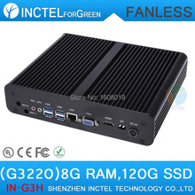 Intel H87 Fanless mini pc thin client with Intel Pentium Dual Core G3220 3.0Ghz CPU HDMI VGA DP Three display 8G RAM 120G SSD