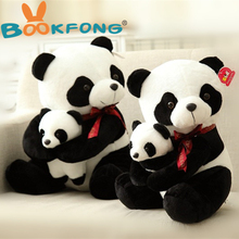 BOOKFONG 25CM Stuffed Animal Plush Panda Father And Son Panda Doll Baby Kids Sleeping Appease Toys Birthday Gift(China)