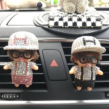 Rhinestone Meng Kiki  Car Perfume Clip Lady Car Air Freshener Cute Little Monkey  Car Styling H hat Perfumes 100 Original